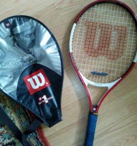 Теннисная ракетка + чехол. На 12-14 лет.