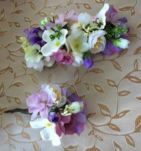 Украшения заколки повязка из цветов