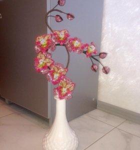 Орхидея из бисера. Веточка для вазы.