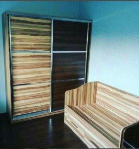 Мебельный комплект кровать+шкаф купе