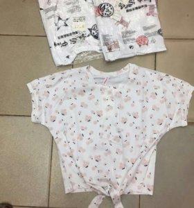 Новая футболка топ завязки кот женская