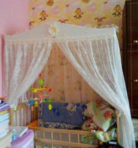 Детская кроватка, матрас, балдахин