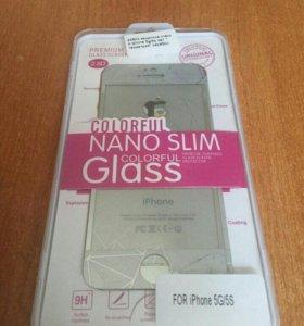 Защитное стекло iphone 5g/5s 2 в 1