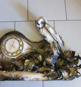 Дизайнерская картина-часы из кожи