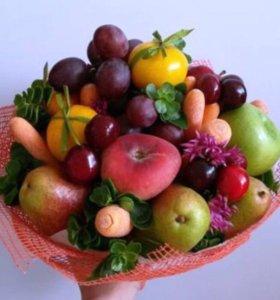 Букеты из фруктов, ягод и овощей на ваш вкус