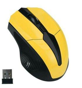 Беспроводная мышь желтая