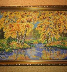Картина осень бисер 46х34