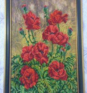 Картина маки, бисер, 44х32