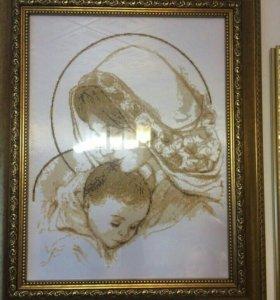 Картина Мария с младенцем, бисер, 67х55
