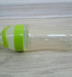 Бутылка селиконовая с ложкой