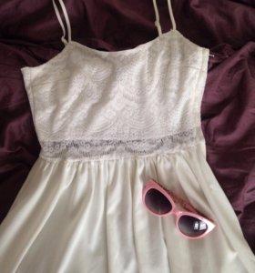 белое платье hm