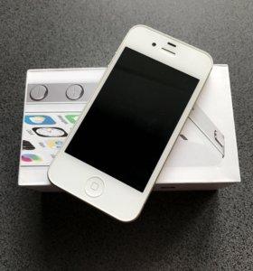 Новый iPhone 4s White 16 gb + наушники
