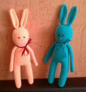 Игрушки ручной работы зайцы