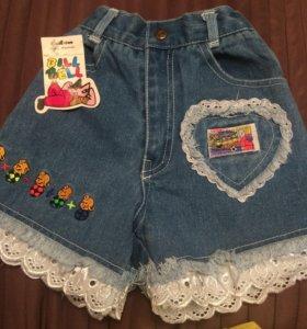 Новые джинсовые шорты для девочек от 1 до 4