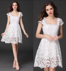 Кружевное белое платье. Новое, размер 42.