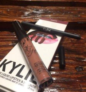 Kylie жидкая матовая помада + карандаш ginger