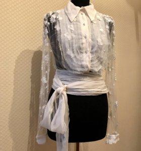 Дизайнерская блуза вышивка, свадебная рубашка
