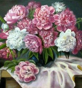 Картины по номерам- пионы в синей вазе