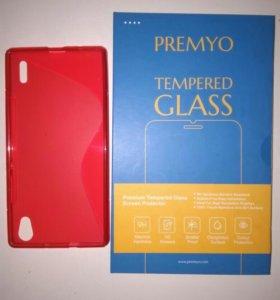 Huawei p7 защитное стекло и чехол
