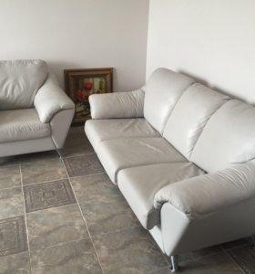 Диван и кресло, эко-кожа