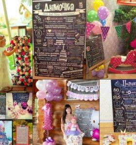 Постеры, метрики, плакаты, декор дня рождения)