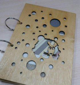Блокнот с деревянной обложкой Мышка