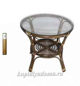 Столик ротанг +стекло