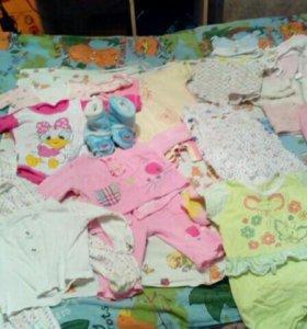 Пакет летних вещей на девочку 4мес до года