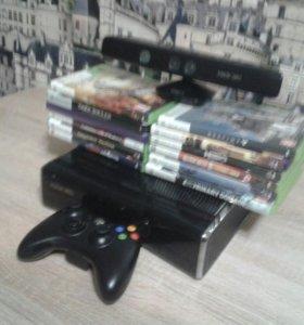 Xbox 360 slim 250 gb + Kinect + 14 игр