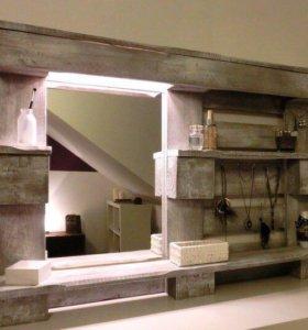 Зеркало в стиле LOFT из поддонов