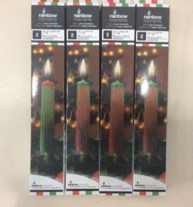 Свечи со стекающими каплями разноцветного воска