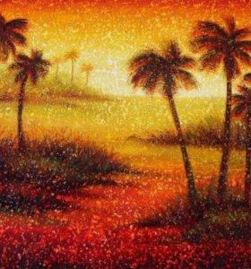 """Картина """"Пальмы"""" холст, масло."""