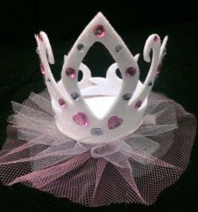 Корона детская нежно-розовая