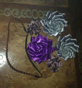 Резинки, цветы, для волос.