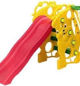 Детская пластиковая горка с баскетб.кольцом