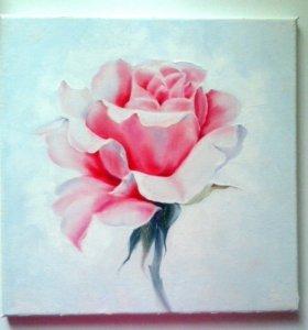 Картина маслом Роза. 30х30см