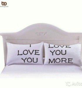 Наволочки I Love You комплект 2 шт (новые) 50x75