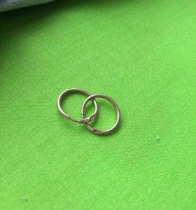 Серёжки серебро с позолотой