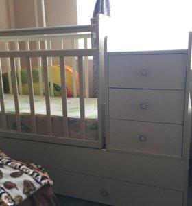 Детская кроватка + комод 2в1