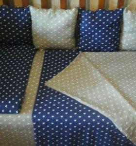 Бортики в детскую кровать , 12 подушечек