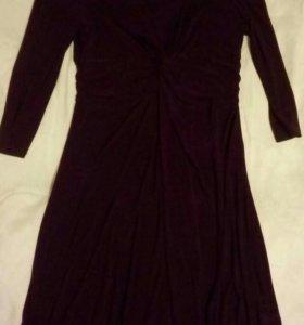 Модное бордовое платье 56р трикотаж новое
