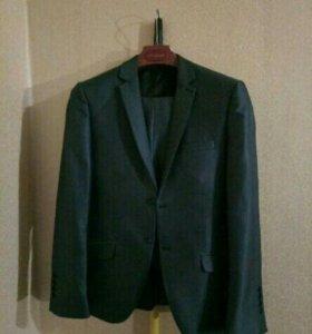 Школьный пиджак + штаны, серо-голубого цвета