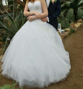 Свадебное платье +кринолин 4х+ чехол
