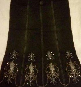 Новая дизайнерская джинсовая юбка со стразами