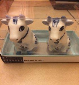Солонка и перечница Коровы, керамика