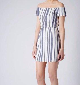 Хлопковое платье в полоску TopShop S