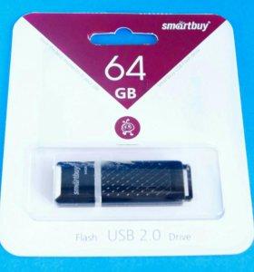 Карта USB 2.0 64GB 64 ГБ SmartBuy Quartz чёрная