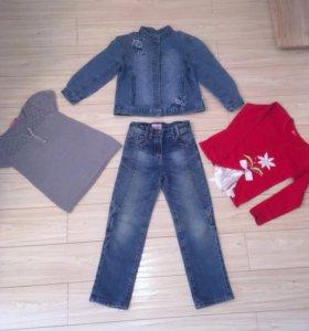 Пакет вещей на девочку +куртка 110-116размер