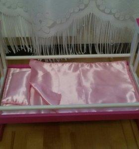 Кроватка – качалка деревянная для куклы