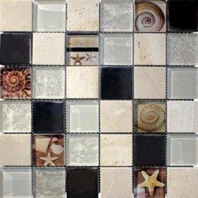 Мозаика стекло/металл/камень seashell